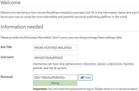 CARA PASANG WORDPRESS WEB HOSTING MALAYSIA